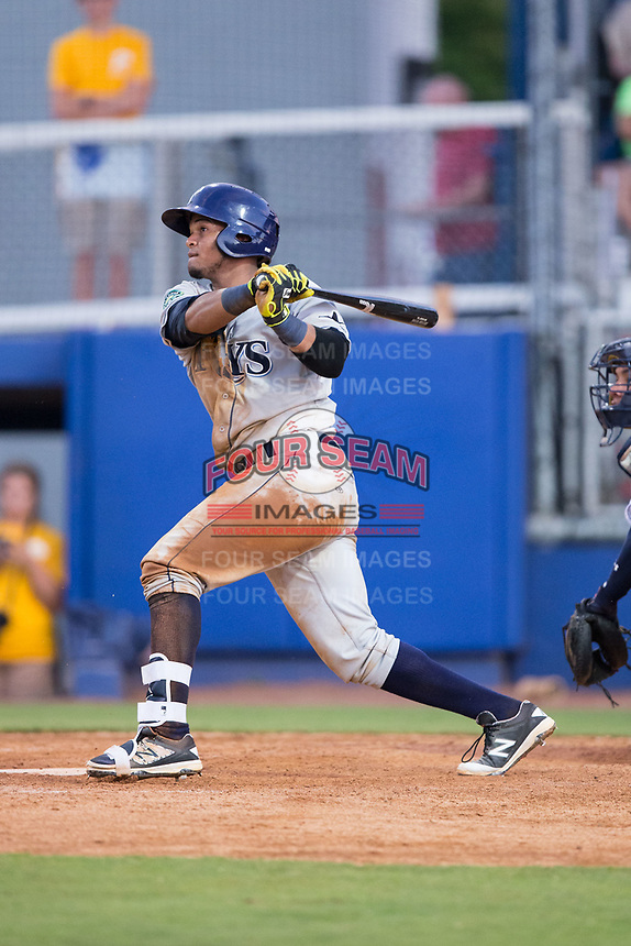Jose Tonton (16) of the Princeton Rays follows through on his swing against the Danville Braves at American Legion Post 325 Field on June 25, 2017 in Danville, Virginia.  The Braves walked-off the Rays 7-6 in 11 innings.  (Brian Westerholt/Four Seam Images)
