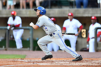 Bluefield Blue Jays center fielder Cal Stevenson (19) swings at a pitch during a game against the Greeneville Reds at Pioneer Park on June 30, 2018 in Greeneville, Tennessee. The Blue Jays defeated the Red 7-3. (Tony Farlow/Four Seam Images)