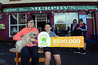 21-9-2017: Mary Murphy, Post Mistress, Rerrin Post Office on Bere Island in County Cork after she sold a 500,000 Euro Millions Plus ticket pictured celebrating on Thursday with her nephew Olan Murphy.<br /> Photo: Don MacMonagle<br /> <br /> Issued on behlf of The National Lottery