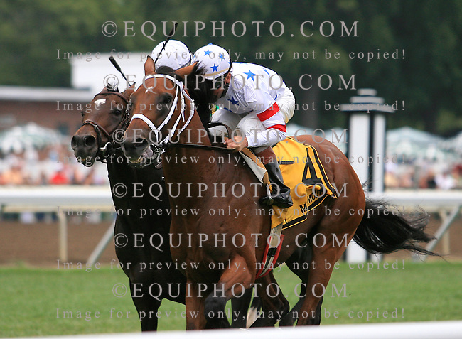 Big Brown #4 with Kent Desormeaux riding won the $500,000 Monmouth Stakes on the turf at Monmouth Park in Oceanport, N.J. on Saturday September 13, 2008.  Photo By Bill Denver/EQUI-PHOTO