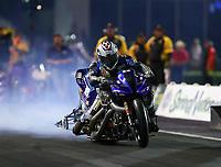 Apr 21, 2017; Baytown, TX, USA; NHRA nitro Harley Davidson motorcycle rider Takeshi Shigematsu during qualifying for the Springnationals at Royal Purple Raceway. Mandatory Credit: Mark J. Rebilas-USA TODAY Sports