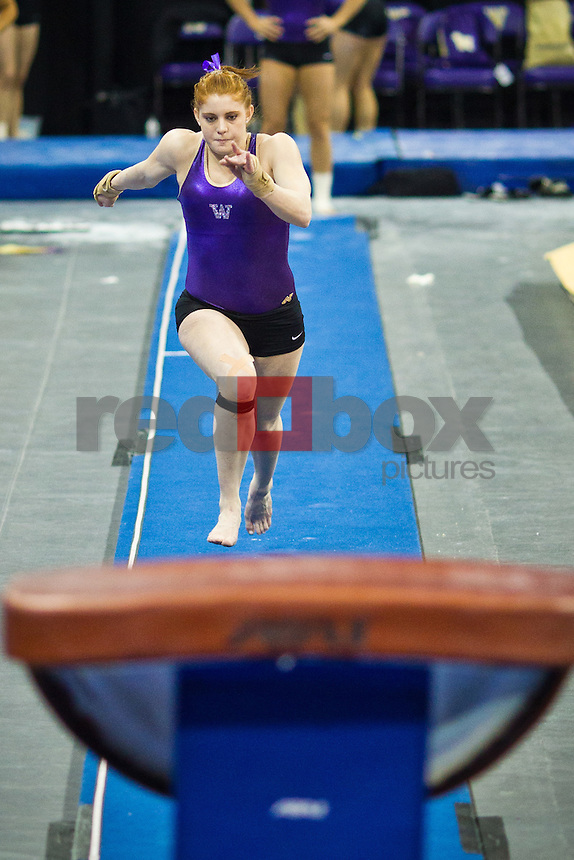 Kylie Sharp...Washington Huskies gymnastics vs. the UCLA Bruins at Alaska Airlines Arena at Hec Edmundson Pavilion in Seattle on Friday, January 27, 2012. (Photo by Dan DeLong/Red Box Pictures)