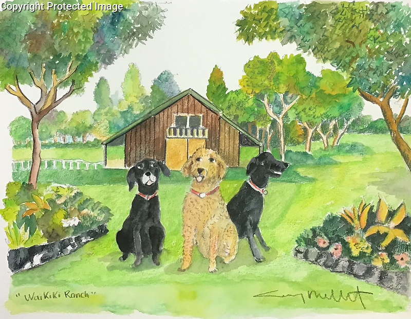 Example 3 pets w/Background Watercolor<br />