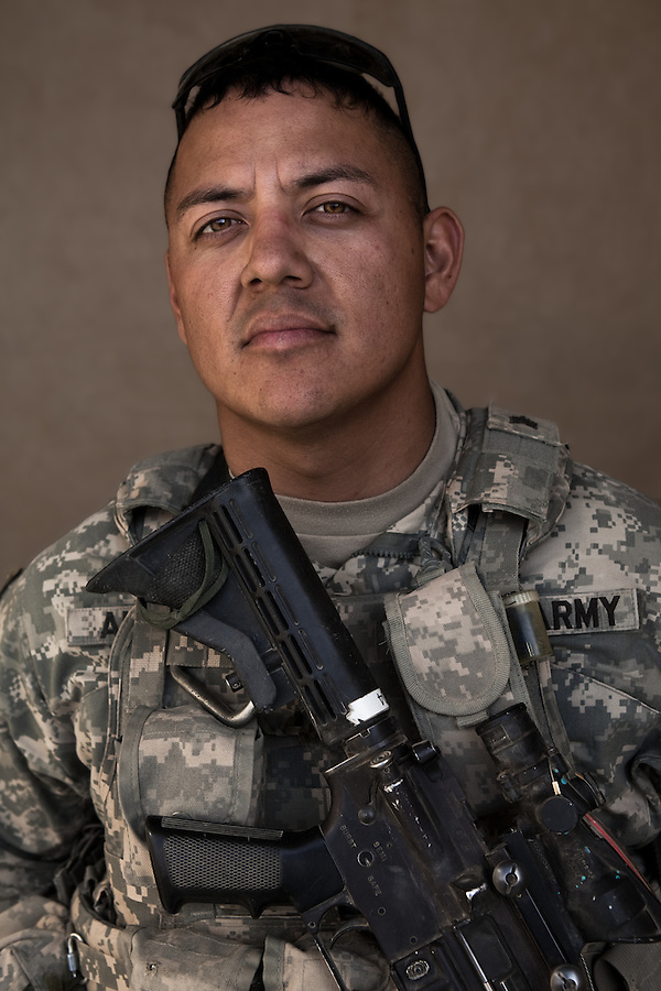 SGT Alaniz, Rudy 30, Dimmitt TX. Charlie Co. 1st Battalion 12th Infantry Regiment, 4th Infantry Division. Photographed at Combat Outpost JFM in Zhari District, Kandahar, Afghanistan.