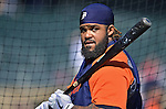 29 September 2012: Detroit Tigers first baseman Prince Fielder awaits his turn in the batting cage prior to a game against the Minnesota Twins at Target Field in Minneapolis, MN. The Tigers defeated the Twins 6-4 in the second game of their 3-game series. Mandatory Credit: Ed Wolfstein Photo