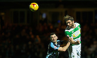 Darren Ward of Yeovil Town beats Matthew Bloomfield of Wycombe Wanderers to the ball during the Sky Bet League 2 match between Yeovil Town and Wycombe Wanderers at Huish Park, Yeovil, England on 24 November 2015. Photo by Andy Rowland.
