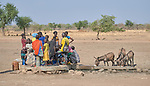 People and animals gather at a well near Talodi, a village in the Nuba Mountains of Sudan.