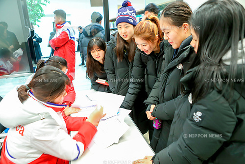 North Korean women's ice hockey team, Jan 25, 2018 : North Korean women's ice hockey team players (L) talk with South Korean players during a team meeting at the Jincheon National Training Center, which is a national athletic training center of South Korea, in Jincheon, southeast of Seoul, South Korea. Twelve North Korean players, a coach and two North Korean support staff crossed the border into South Korea on January 25, 2018 to form a joint South-North women's ice hockey team for the 2018 PyeongChang Winter Olympics. EDITORIAL USE ONLY (Photo by Joint Government Support Corps/AFLO) (SOUTH KOREA)