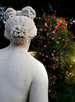 Detail of the statue called Venus genitrix or Venus animant l'univers, created by Louis-Charles Dupaty in 1810 and located in the Rose Garden of the Jardin des Plantes, Paris, 5th arrondissement, France. Founded in 1626 by Guy de La Brosse, Louis XIII's physician, the Jardin des Plantes, originally known as the Jardin du Roi, opened to the public in 1640. It became the Museum National d'Histoire Naturelle in 1793 during the French Revolution. Venus Genitrix was given to the Museum National d'Histoire Naturelle circa 1818 and was classified as Historical Monuments in 1982.