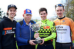 Pix: Shaun Flannery/shaunflanneryphotography.com<br /> <br /> COPYRIGHT PICTURE&gt;&gt;SHAUN FLANNERY&gt;01302-570814&gt;&gt;07778315553&gt;&gt;<br /> <br /> 17th April 2016<br /> The Danum Trophy Road Race 2016<br /> L-R Reece Wood, Velocity Globalbikes, Chris Parkinson, 1970 Winner, Winner, Michael Ashurst, Champion System VCUK Racing Team, Ross Lamb, Godfrey Bikewear Race Team.