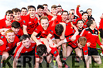 Darran O'Sullivan celebrates with his Glenbeigh/Glencar  after defeating Na Gaeil in the Junior Premier final in Fitzgerald Stadium on Sunday