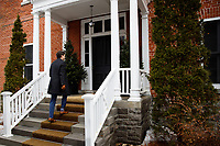 Prime Minister Trudeau speaks with media outside of Rideau Cottage during his ongoing self-isolation. March 26, 2020.