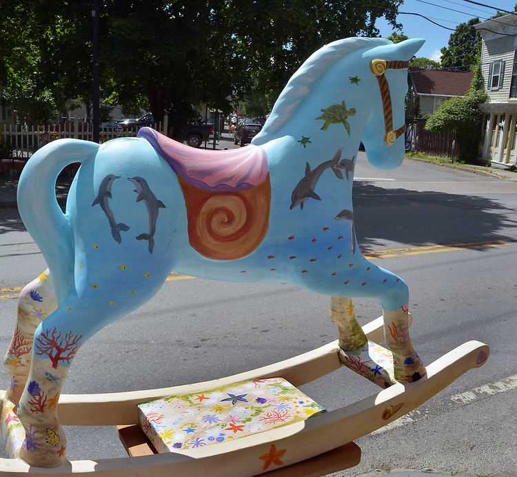 "A view of ""Seahorse"" created by artist, Heather I. Martin, one of the ""Rockin' Around Saugerties"" theme Statues on display throughout the Village of Saugerties, NY, on Saturday, June 3, 2017. Photo by Jim Peppler. Copyright/Jim Peppler-2017."