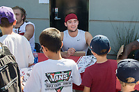 STANFORD, CA -- April 14, 2018. <br /> Charlie Beall with fans after the 2018 Stanford Spring Football game Saturday afternoon at the Laird Q. Cagan Stadium.