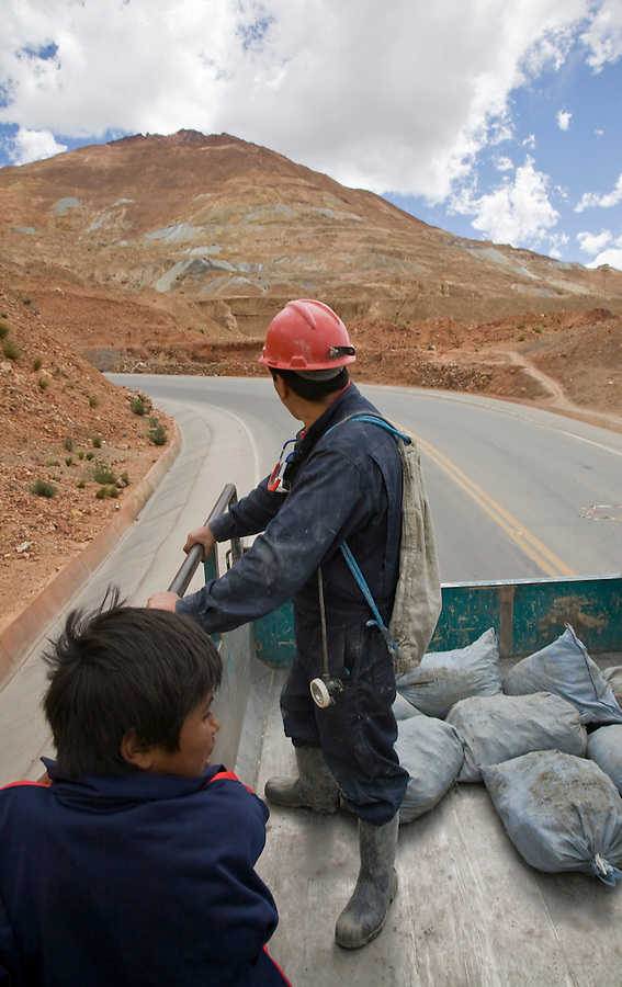 Catching a ride back to town from the mines on the Cerro Rico in the back of a mine truck.