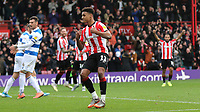 Ollie Watkins celebrates scoring Brentford's third goal during Brentford vs Queens Park Rangers, Sky Bet EFL Championship Football at Griffin Park on 11th January 2020