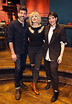 """Choreographer David Neumann, Composer and author Anais Mitchell and director Rachel Chavkin during the Broadway Press Performance Preview of """"Hadestown""""  at the Walter Kerr Theatre on March 18, 2019 in New York City."""