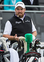 15.10.2014. The London Golf Club, Ash, England. The Volvo World Match Play Golf Championship.  Day 1 group stage matches.  Shane Lowry [IRL] on the first tee.