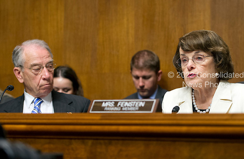 United States Senator Dianne (Democrat of California), right, Ranking Member, US Senate Committee on the Judiciary makes a statement on the President's firing of FBI Director James Comey on Capitol Hill in Washington, DC on Wednesday, May 10, 2017.  Listening at left is US Senator Chuck Grassley (Republican of Iowa), Chairman, US Senate Committee on the Judiciary.<br /> Credit: Ron Sachs / CNP