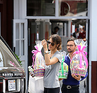 April 17 2014 Brentwood California  Alesandra Ambrosio shopping for Easter baskets at the Country Mart in Brentwood California  SP1/Starlitepics /NortePhoto