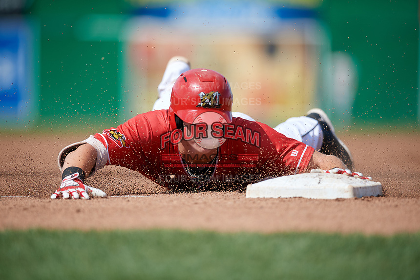 Batavia Muckdogs first baseman Sean Reynolds (25) slides into third base during a game against the Auburn Doubledays on September 2, 2018 at Dwyer Stadium in Batavia, New York.  Batavia defeated Auburn 5-4.  (Mike Janes/Four Seam Images)