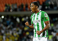 MEDELLIN - COLOMBIA -26-05-2016: Orlando Berrio de Atlético Nacional celebra después de anotar el segundo gol a La Equidad durante partido por la fecha 15 de la Liga Águila I 2016 jugado en el estadio Atanasio Girardot de la ciudad de Medellín./ Orlando Berrio payer of Atletico Nacional celebrates after scoring the second goal to La Equidad during match for the date 15 of the Aguila League I 2016 played at Atanasio Girardot stadium in Medellin city Photo: VizzorImage / Cristian Alvarez / CONT