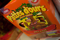 A box of Dare Pattes d'Ours (Bear Paws) cookies with French Label is seen in a Metro grocery store in Quebec city March 4, 2009.