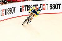 Picture by Alex Whitehead/SWpix.com - 09/12/2017 - Cycling - UCI Track Cycling World Cup Santiago - Velódromo de Peñalolén, Santiago, Chile - Ukraine's Liubov Basova competes in the Women's Sprint qualifying. Tissot Branding.