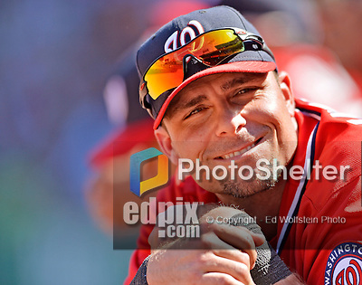 10 June 2012: Washington Nationals outfielder Rick Ankiel smiles in the dugout during a game against the Boston Red Sox at Fenway Park in Boston, MA. Harper scored the game winning run in the 9th inning as the Nationals defeated the Red Sox 4-3 to sweep their 3-game interleague series. Mandatory Credit: Ed Wolfstein Photo