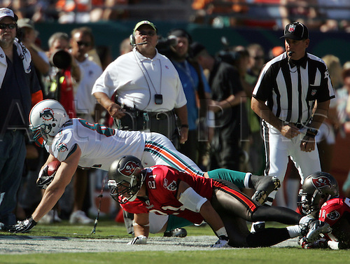 15 NOV 2009:  Joey Haynos (81) of the Dolphins dives out of bounds as Sabby Piscitelli of the Buccaneers makes the tackle during the game between the Tampa Bay Buccaneers and the Miami Dolphins at Landshark Stadium in Miami Gardens, FL.  The Dolphins defeated the Buccaneers by the score of 25 to 23. Photo by Cliff Welch/actionplus UK Licenses Only
