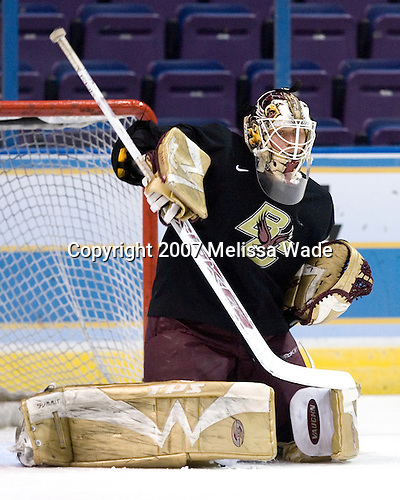 Joe Pearce (Boston College - Brick, NJ) takes part in the Eagles' Wednesday practice on April 4, 2007 at the Scottrade Center in St. Louis, Missouri, prior to their Thursday 2007 Frozen Four Semi-Final.