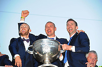 27-9-2014:  Kerry players Barry John Keane,  Kieran Donaghy and Marc O'Se pictured at the Kerry team homecoming in Tralee last evening.<br /> Picture by Don MacMonagle