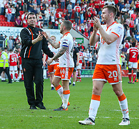 Blackpool manager Gary Bowyer shakes the hand of Jay Spearing after the match<br /> <br /> Photographer Alex Dodd/CameraSport<br /> <br /> The EFL Sky Bet League One - Rotherham United v Blackpool - Saturday 5th May 2018 - New York Stadium - Rotherham<br /> <br /> World Copyright &copy; 2018 CameraSport. All rights reserved. 43 Linden Ave. Countesthorpe. Leicester. England. LE8 5PG - Tel: +44 (0) 116 277 4147 - admin@camerasport.com - www.camerasport.com