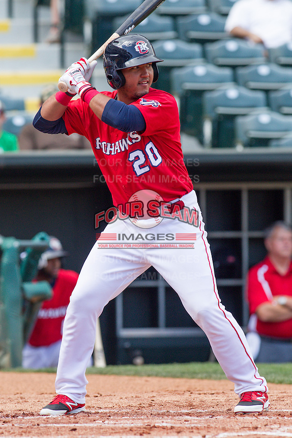 Oklahoma City RedHawks catcher Carlos Perez (20) at bat during the Pacific League game at the Chickasaw Bricktown Ballpark against the New Orleans Zephyrs on April 13, 2014 in Oklahoma City, Oklahoma.  The RedHawks defeated the Zephyrs 4-3.  (William Purnell/Four Seam Images)