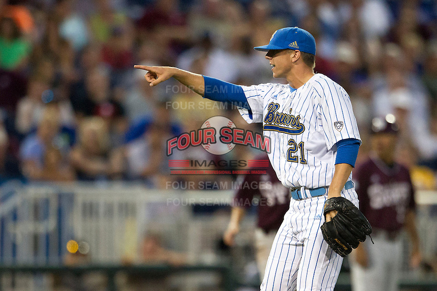 UCLA pitcher Nick Vander Tuig (21) in action against the Mississippi State Bulldogs during the 2013 Men's College World Series Final on June 25, 2013 at TD Ameritrade Park in Omaha, Nebraska. The Bruins defeated the Bulldogs 8-0, winning the National Championship. (Andrew Woolley/Four Seam Images)