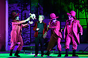 """EMBARGOED UNTIL 23:00 FRIDAY 18 OCTOBER 2019: London, UK. 16.10.2019.  English National Opera presents """"The Mask of Orpheus"""", by Sir Harrison Birthwhistle, libretto by Peter Zinovieff, at the London Coliseum, in its first London restaging in the 30 years since its premiere, coinciding with the celebration of Sir Harrison's 85th birthday. Directed by Daniel Kramer, with lighting design by Peter Mumford, set design by Lizzie Clachan and costume design by Daniel Lismore. Picture shows: Peter Hoare (Orpheus the Man), with David Ireland, William Morgan, Simon Wilding (Judges of the Dead). Photograph © Jane Hobson."""