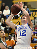 Steven Torre #12 of Kellenberg drives to the hoop during the NSCHSAA varsity boys basketball semifinals against Holy Trinity at LIU Post on Sunday, Feb. 28, 2016. He scored 23 points in Kellenberg's 55-49 win.