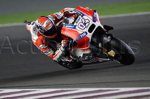 28.03.2015. Losail, Doha. MotoGP. Qatar Grand Prix Qualifying. Andrea Dovizioso (Ducati Team) during qualifying sessions