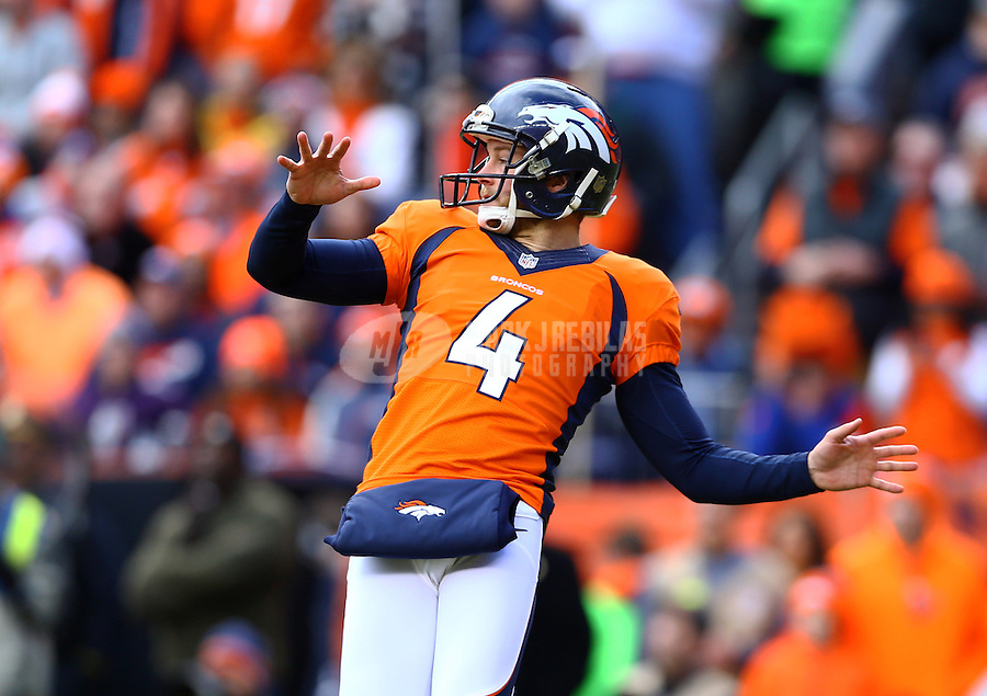 Jan 24, 2016; Denver, CO, USA; Denver Broncos punter Britton Colquitt (4) against the New England Patriots in the AFC Championship football game at Sports Authority Field at Mile High. The Broncos defeated the Patriots 20-18 to advance to the Super Bowl. Mandatory Credit: Mark J. Rebilas-USA TODAY Sports