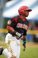 Batavia Muckdogs outfielder Travis Brewster (46) runs to first during a game against the Mahoning Valley Scrappers on June 22, 2015 at Dwyer Stadium in Batavia, New York.  Mahoning Valley defeated Batavia 15-11.  (Mike Janes/Four Seam Images)