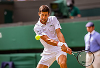 London, England, 5 July, 2019, Tennis,  Wimbledon, Novak Djokovic (SRB)<br /> Photo: Henk Koster/tennisimages.com