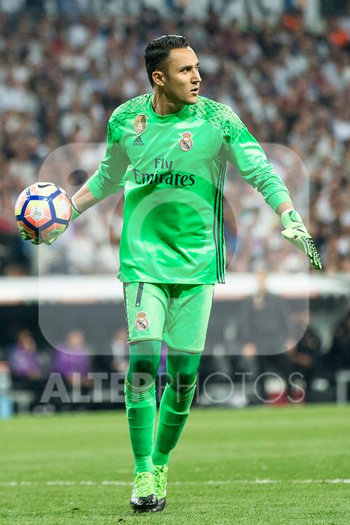 Keylor Navas of Real Madrid during the match of La Liga between Real Madrid and Futbol Club Barcelona at Santiago Bernabeu Stadium  in Madrid, Spain. April 23, 2017. (ALTERPHOTOS)