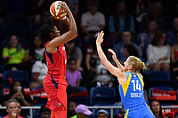 Washington, DC - September 8, 2019: Washington Mystics guard Ariel Atkins (7) goes up for a shot over Chicago Sky guard Allie Quigley (14) during game between the Chicago Sky and Washington Mystics at the Entertainment and Sports Arena in Washington, DC. The Mystics locked up the #1 seed in the Playoffs by defeating the Sky 100-86. (Photo by Phil Peters/Media Images International)