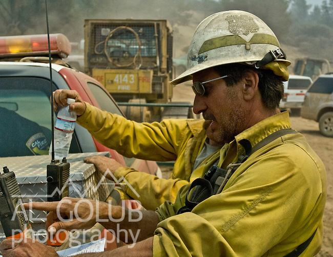 Greeley Hill, California-- July 30, 2008-Telegraph Fire-Wildfires Threaten Yosemite National Park.John Strom, Ouachita National Forest, Division L is on the leading edge of the fire and is threatening Greeley Hill..Photo by Al GOLUB/Golub Photography