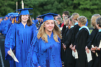 Christine Addison lead her class around the track with hope in her eyes during the 2006 graduation ceremonies held Friday at Western Albemarle High School. Photo/Andrew Shurtleff graduate celebrate happy