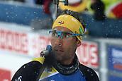 17th March 2019, Ostersund, Sweden; IBU World Championships Biathlon, day 9, mass start men; Martin Fourcade (FRA) finishes in heavy snowfall