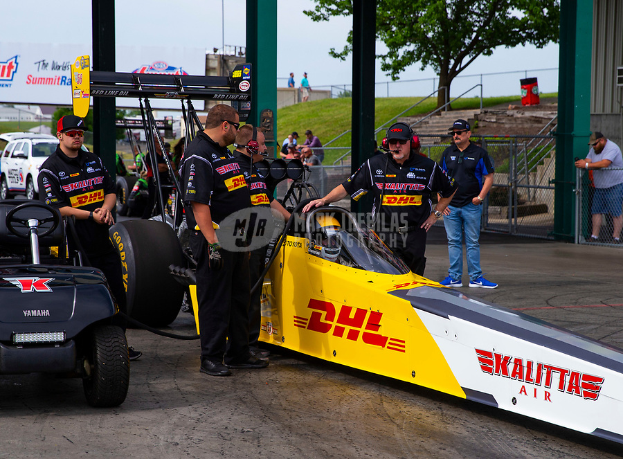May 18, 2018; Topeka, KS, USA; Crew members for NHRA top fuel driver Richie Crampton during qualifying for the Heartland Nationals at Heartland Motorsports Park. Mandatory Credit: Mark J. Rebilas-USA TODAY Sports