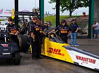 May 18, 2018; Topeka, KS, USA; Crew members for NHRA top fuel driver Richie Crampton during qualifying for the Heartland Nationals at Heartland Motorsports Park. Mandatory Credit: Mark J. Rebilas-USA TODAY Sports