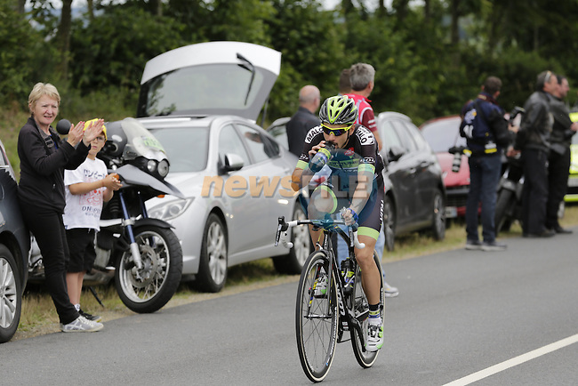 Breakaway rider Armindo Fonseca (FRA) Fortuneo-Vital Concept passes through the feed zone at La Hargriniere during Stage 3 of the 2016 Tour de France, running 223.5km from Granville to Angers, France . 4th July 2016.<br /> Picture: Eoin Clarke | Newsfile<br /> <br /> <br /> All photos usage must carry mandatory copyright credit (&copy; Newsfile | Eoin Clarke)