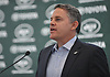 Chris Gargano, New York Jets Vice President and Executive Producer, speaks during the team's Gameday Upfront gathering at MetLife Stadium in East Rutherford, NJ on Tuesday, Aug. 15, 2017. The team unveiled new food offerings which will be available on game days this season.
